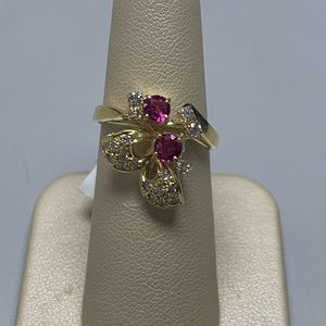 Jewelry - 18K Yellow Gold Butterfly Ruby and Diamond Ring